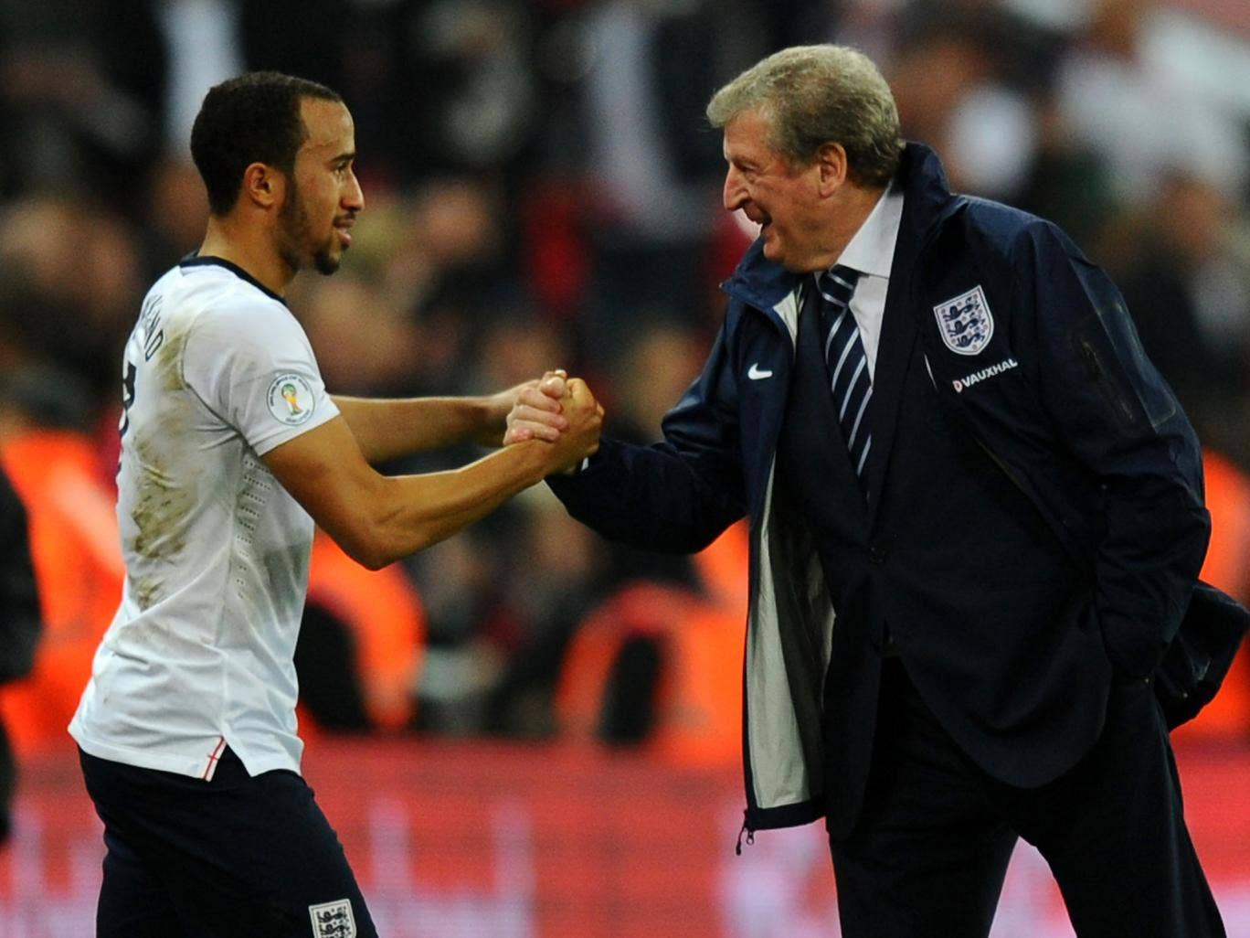 Andros Townsend with Roy Hodgson