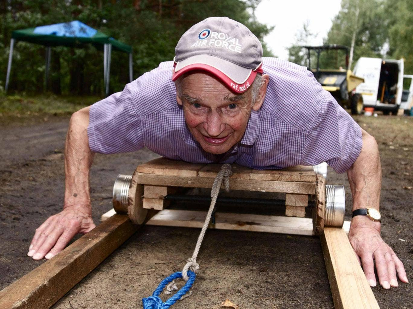 Stone demonstrates a tunnel trolley in 2011 for a television documentary