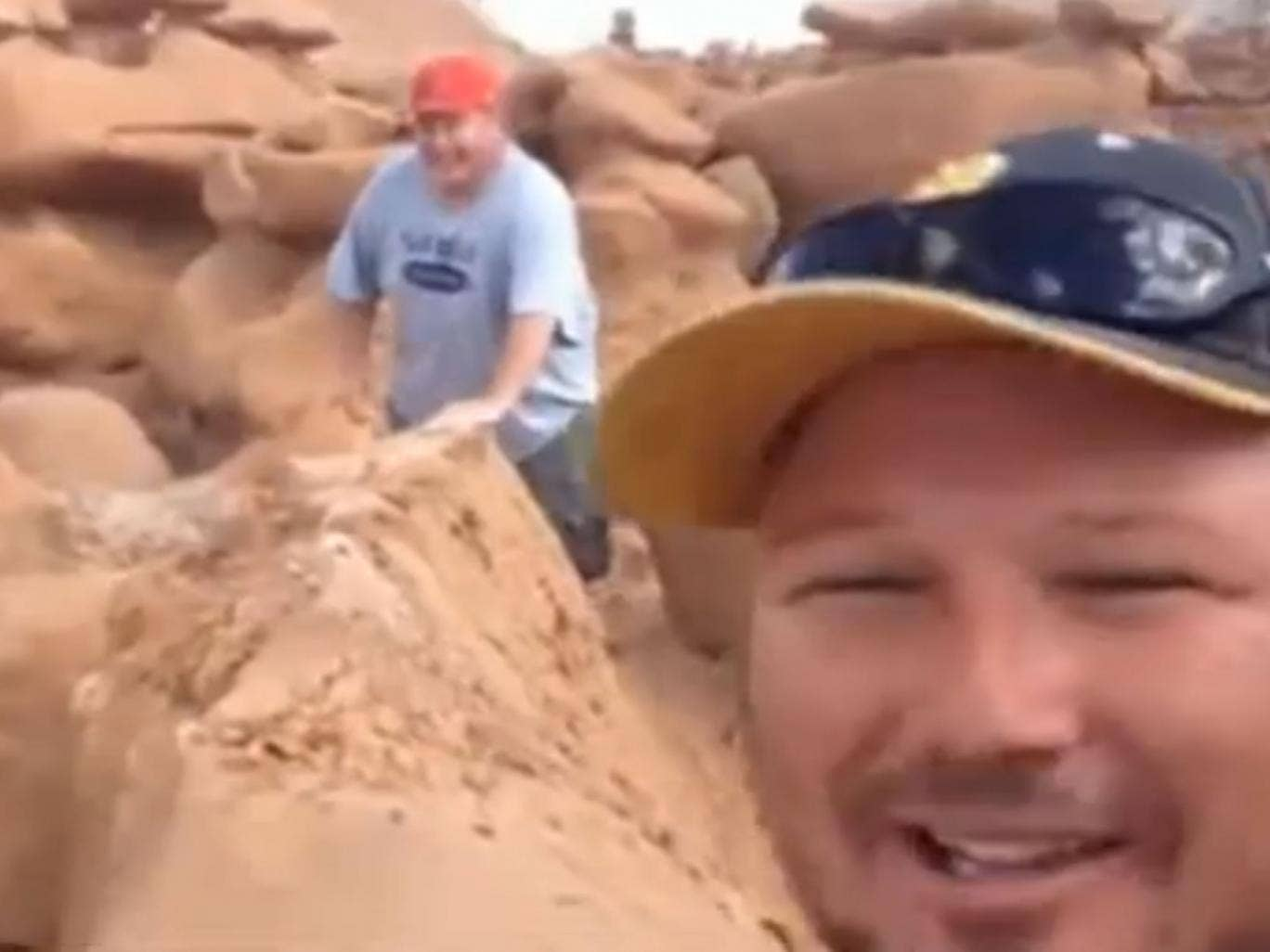 A group of hikers who high-fived each other and celebrated after toppling a 200-million-year-old rock formation in a Utah park are facing possible felony charges after a video of them pushing the formation over was posted on YouTube.