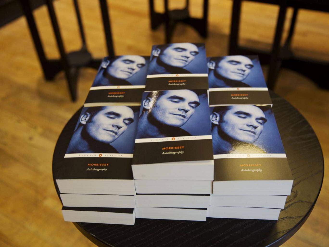 Copies of the Morrissey Autobiography lie piled up in a North London bookshop