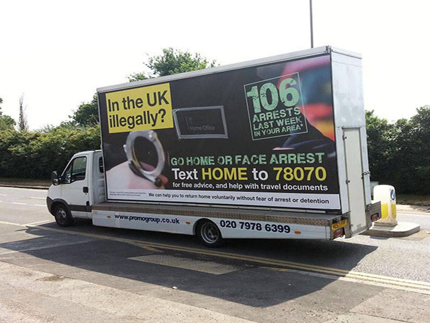 Mark Harper said the Home Office could extend the mobile advan posters nationwide