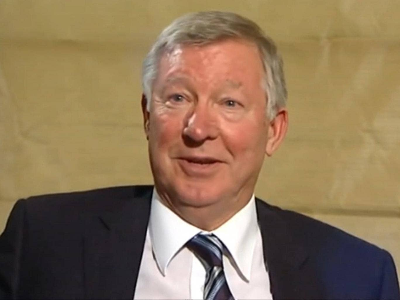 Ferguson looks bemused when asked about his political beliefs