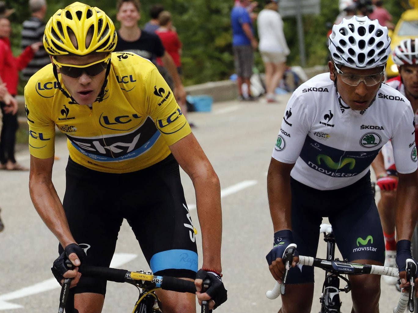 Christopher Froome rides next to best young's white jersey Colombia's Nairo Quintana