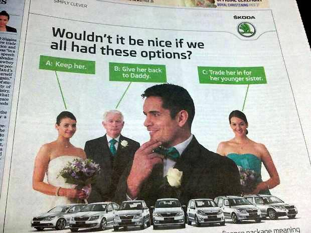 An advert from Skoda Ireland which features a groom weighing up the option of 'trading in' his bride