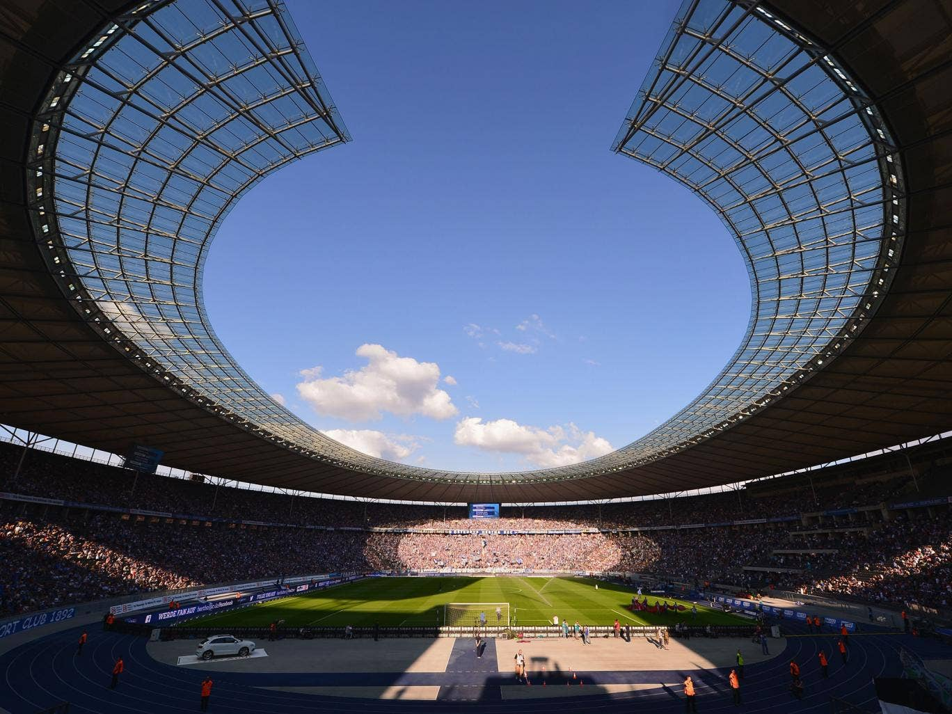A general view of the Olympia stadium during the Bundesliga match between Hertha BSC and Hamburger SV