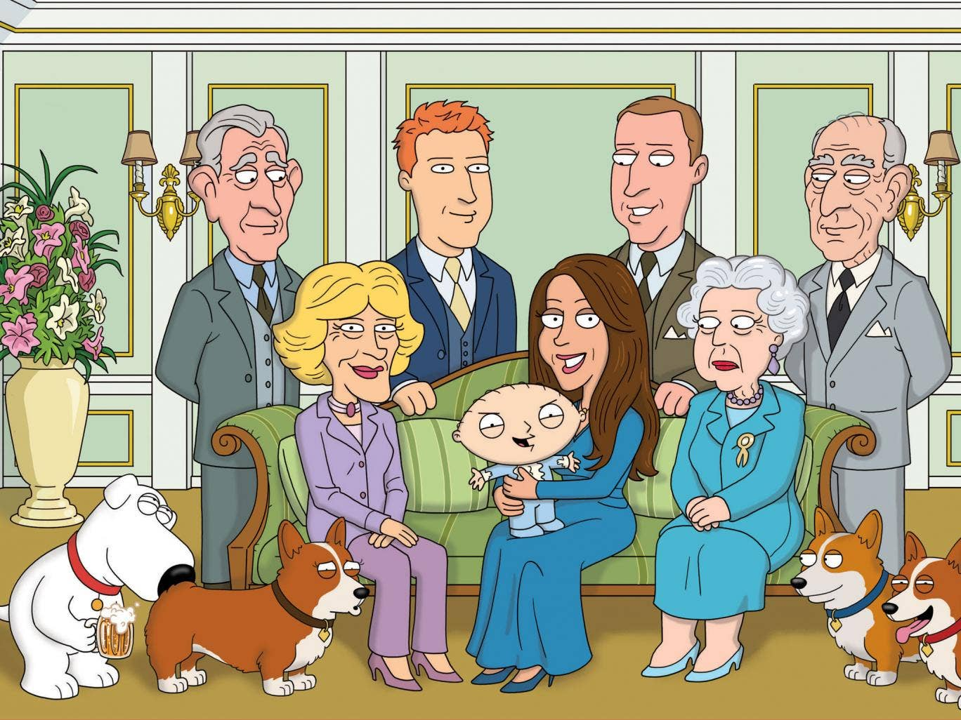 Family Guy spoofs the royal christening, with the cherubic Prince George replaced by the demonic Stewie
