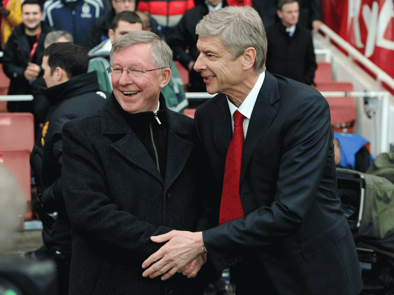 Arsene Wenger the Manager of Arsenal and Alex Ferguson the Manager of Manchester United shake hands