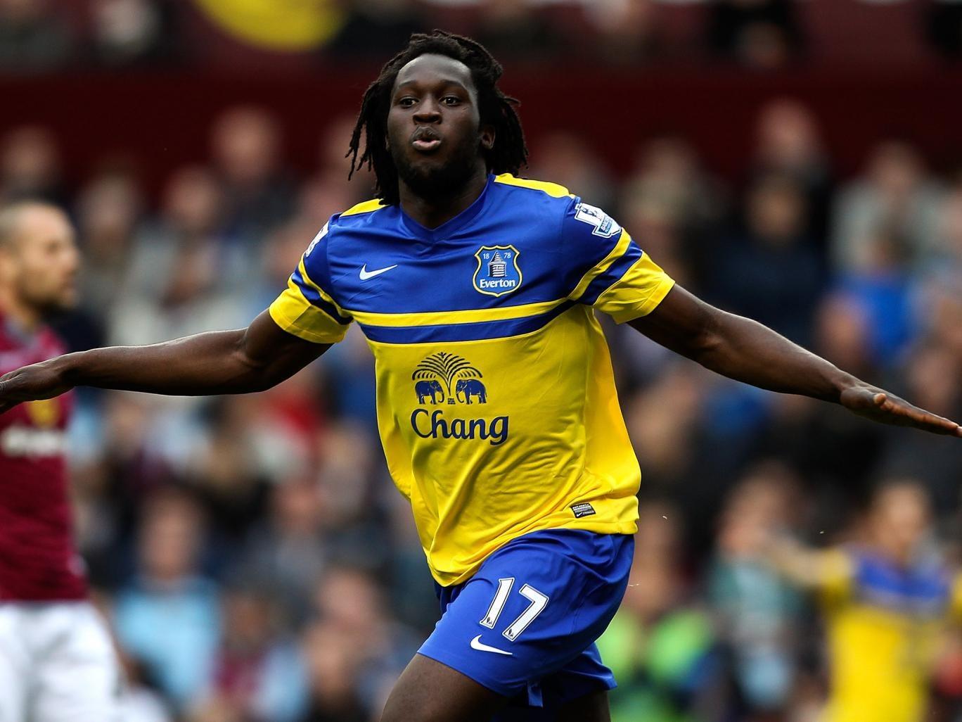 Romelu Lukaku celebrates opening the scoring for Everton