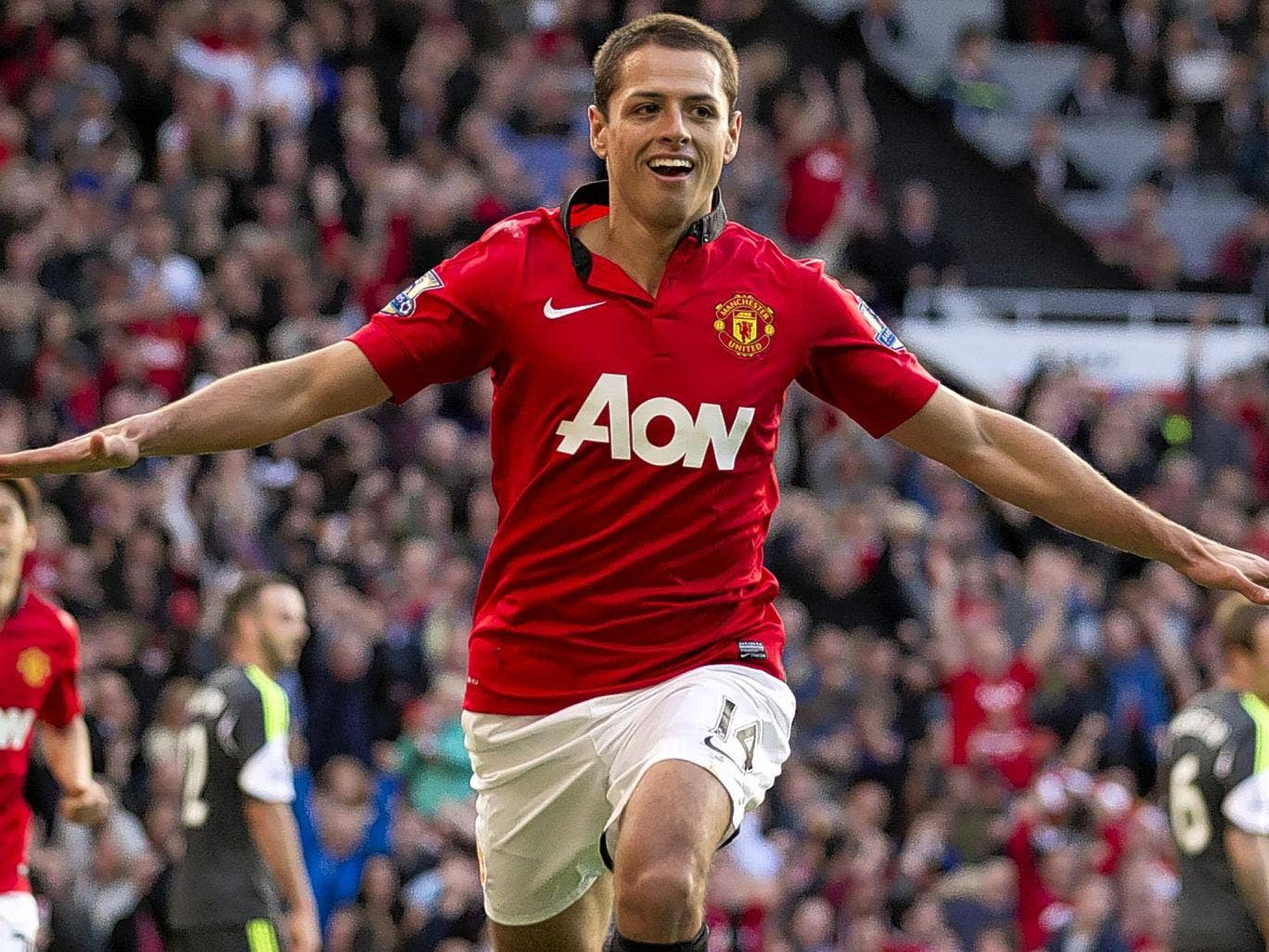 Cleared for take-off: Javier Hernandez scores Manchester United's late winner against Stoke City yesterday which David Moyes hopes will help kick-start the team's Premier League season