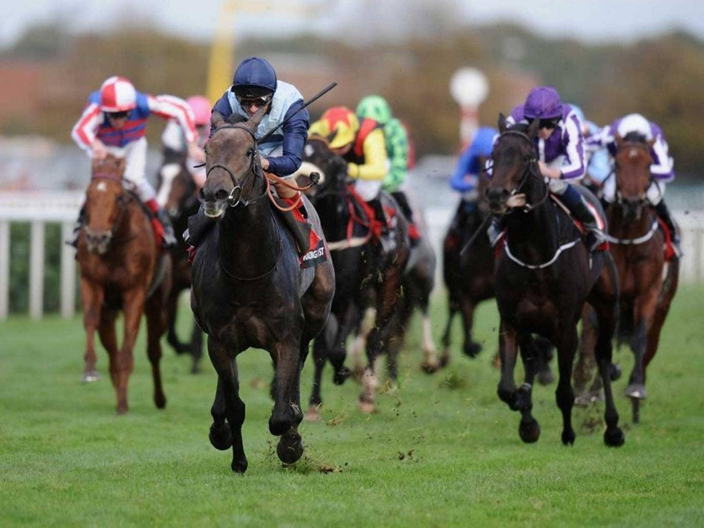 Post haste: The talented Andrea Atzeni drives Kingston Hill home in the Racing Post Trophy