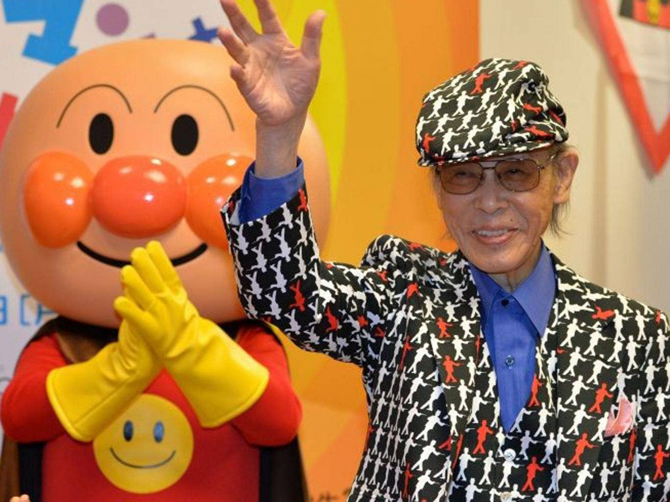 Yanase in May this year with his best-loved character Anpanman