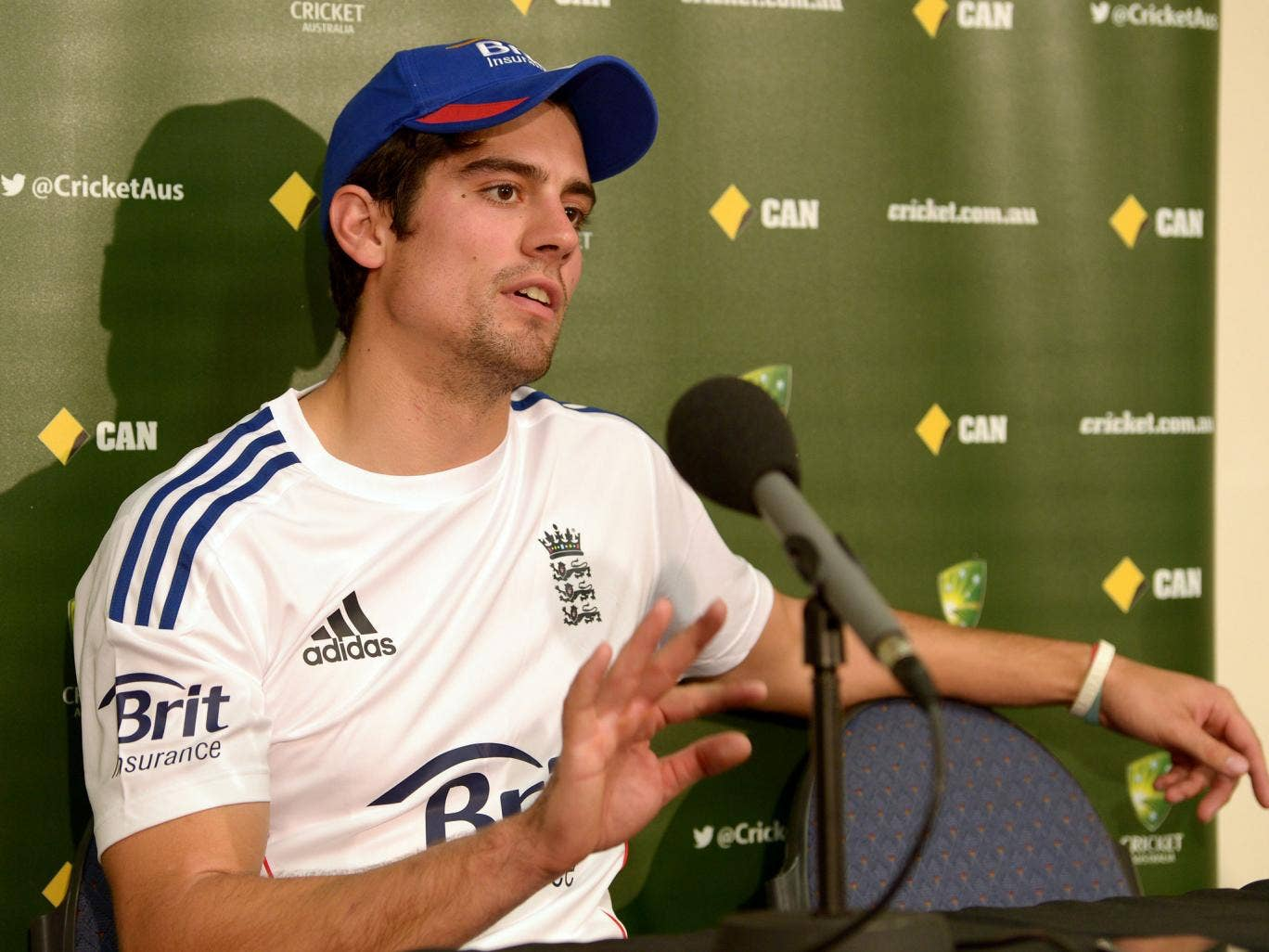 England Test cricket team captain Alastair Cook speaks during the official arrival media conference
