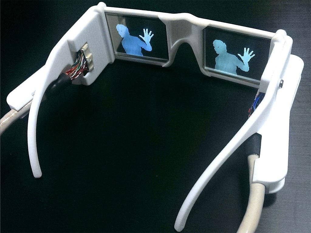 A pair of the smart glasses with an image of a person