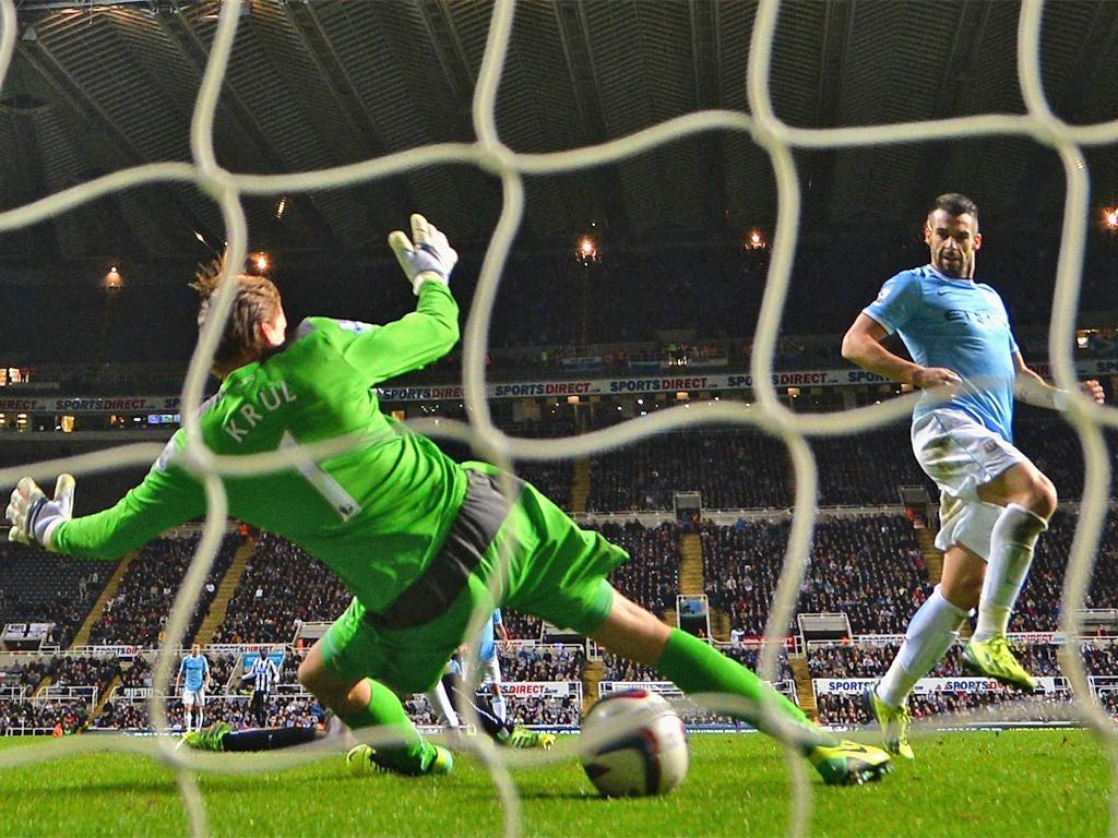 Alvaro Negredo beats Tim Krul to put City 1-0 up