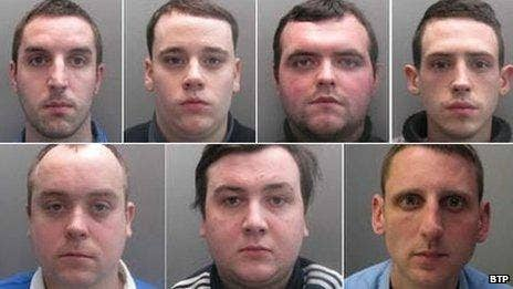 Six of the group were jailed and a seventh handed a suspended sentence