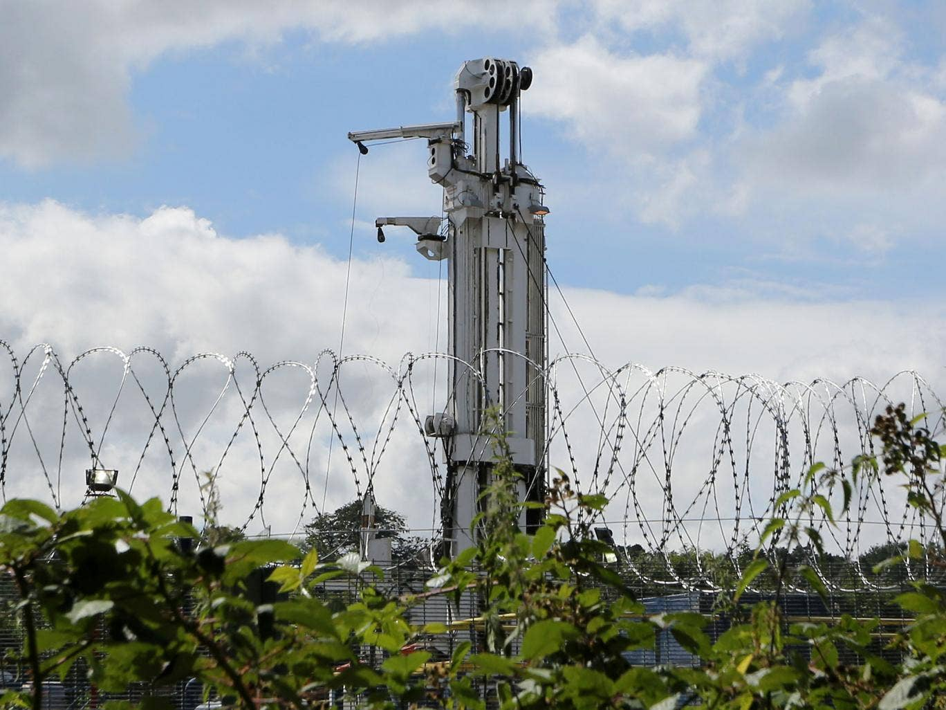 Drilling equipment at the Cuadrilla exploration drilling site in Balcombe