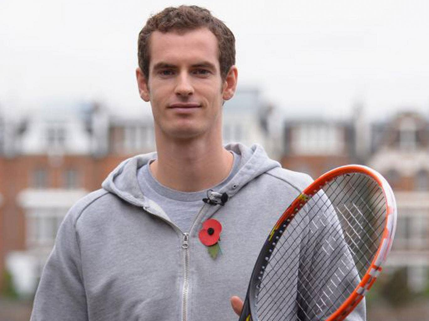 Andy Murray poses at Queen's Club on Thursday