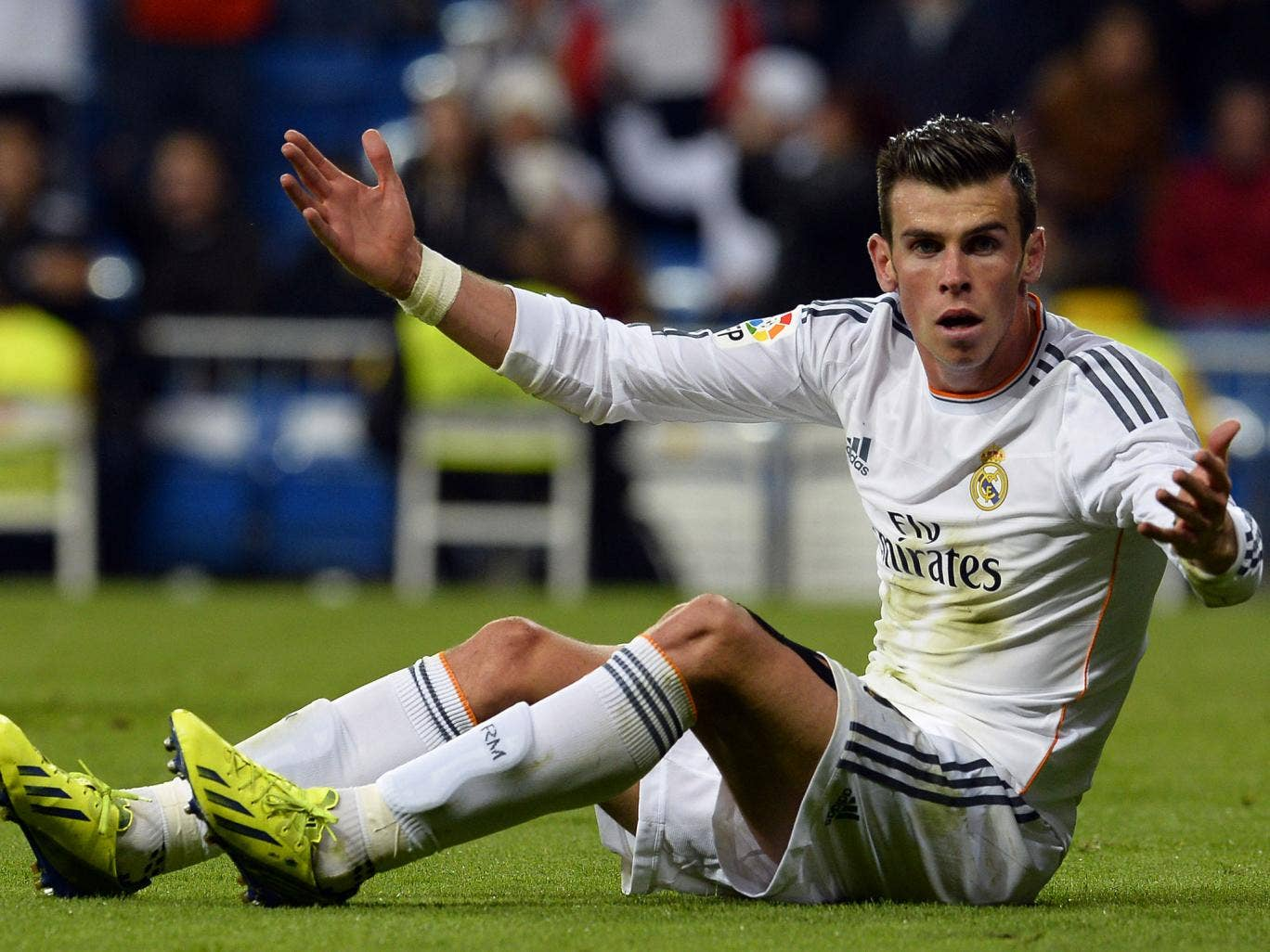 Gareth Bale reacts during the match against Sevilla at the Bernabeu on Wednesday