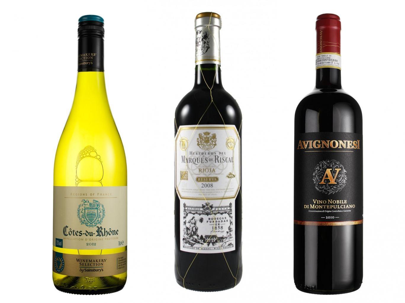 2012 Taste the Difference Côtes du Rhone Villages; 2008 Marques de Riscal Rioja Reserva; 2010 Avignonesi Vino Nobile