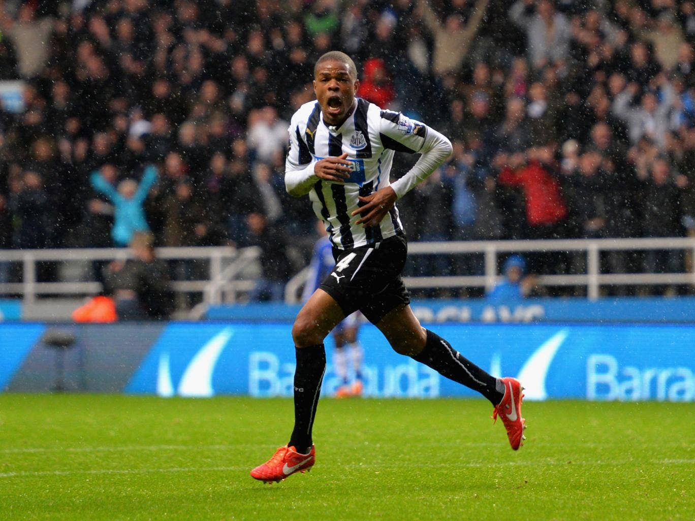 Loic Remy celebrates after he scures Newcastle's 2-0 victory over Chelsea