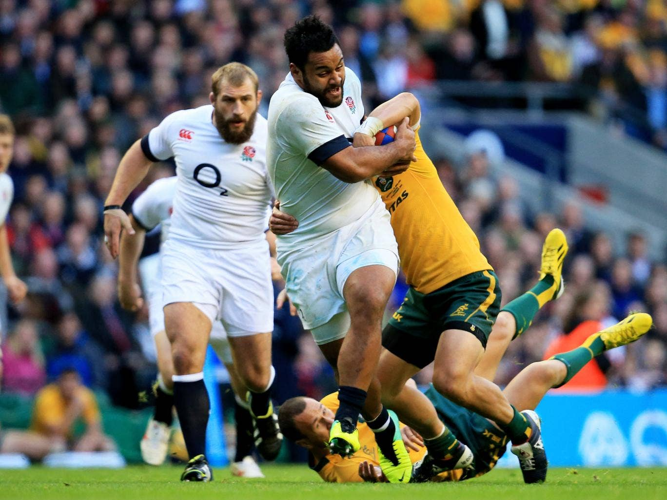England number eight Billy Vunipola breaks clear of the Australian defence
