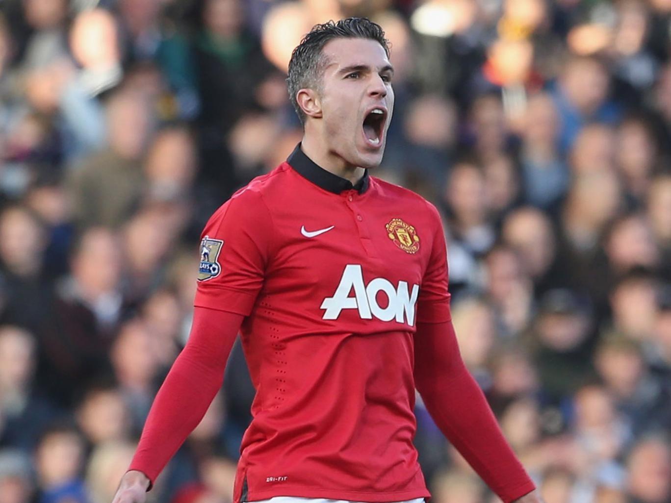 Robin van Persie celebrates after scoring for Manchester United