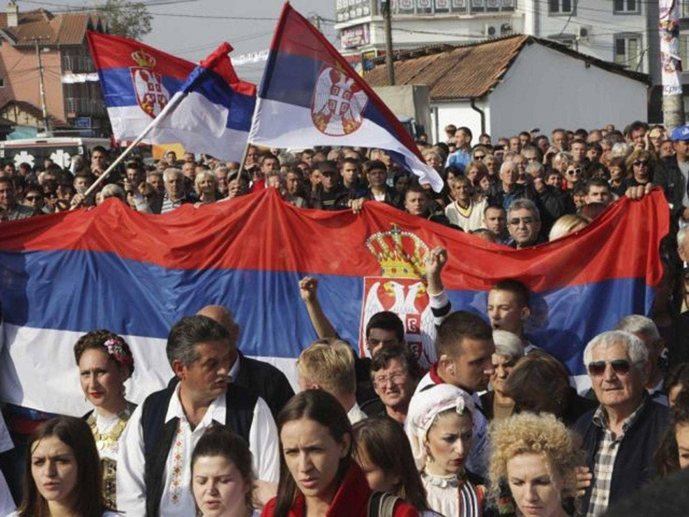 Taking sides: a rally by Kosovo Serbs