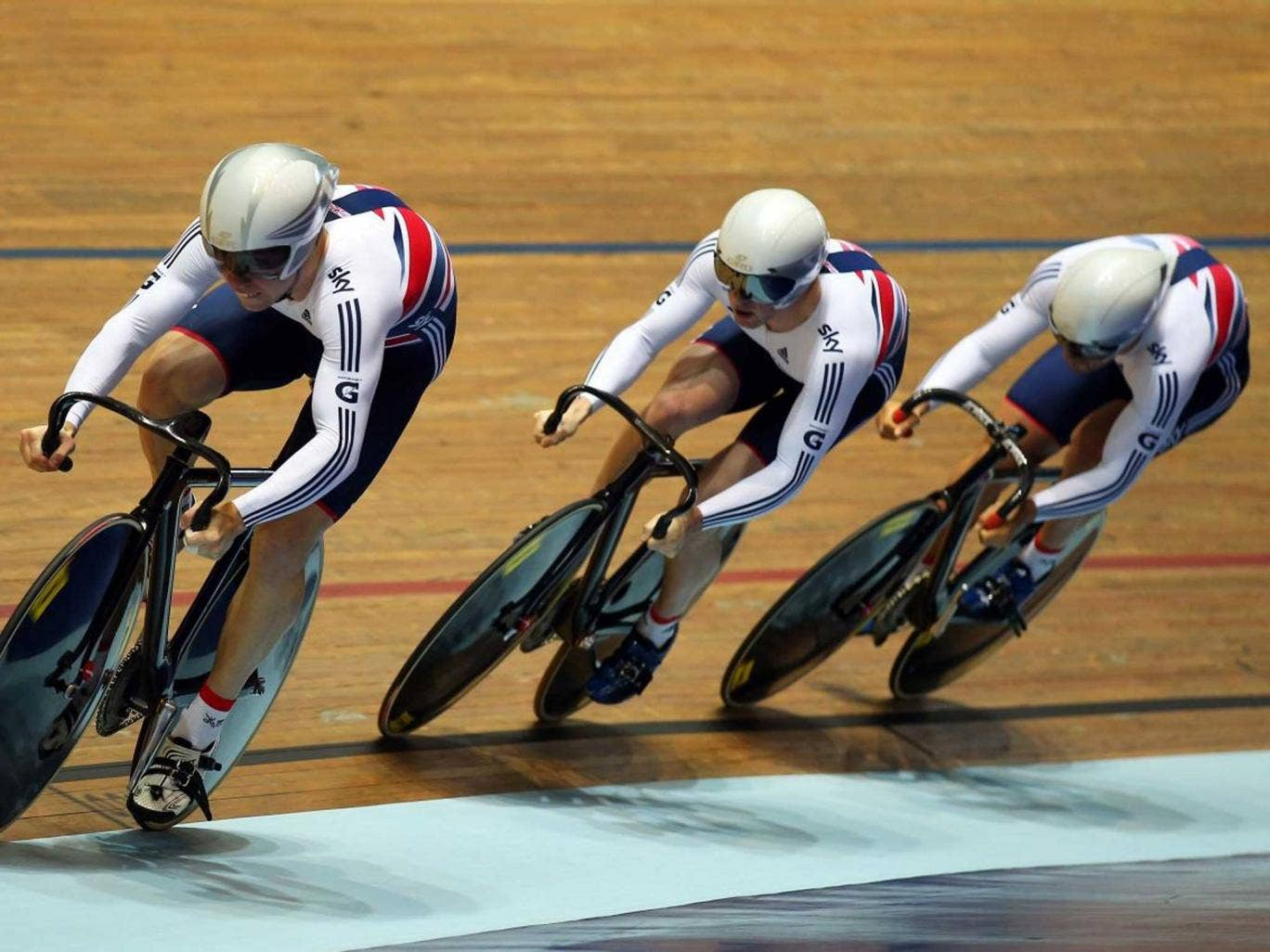 Three wheeling: Philip Hindes leads the British sprint team that could only win World Cup bronze in Manchester