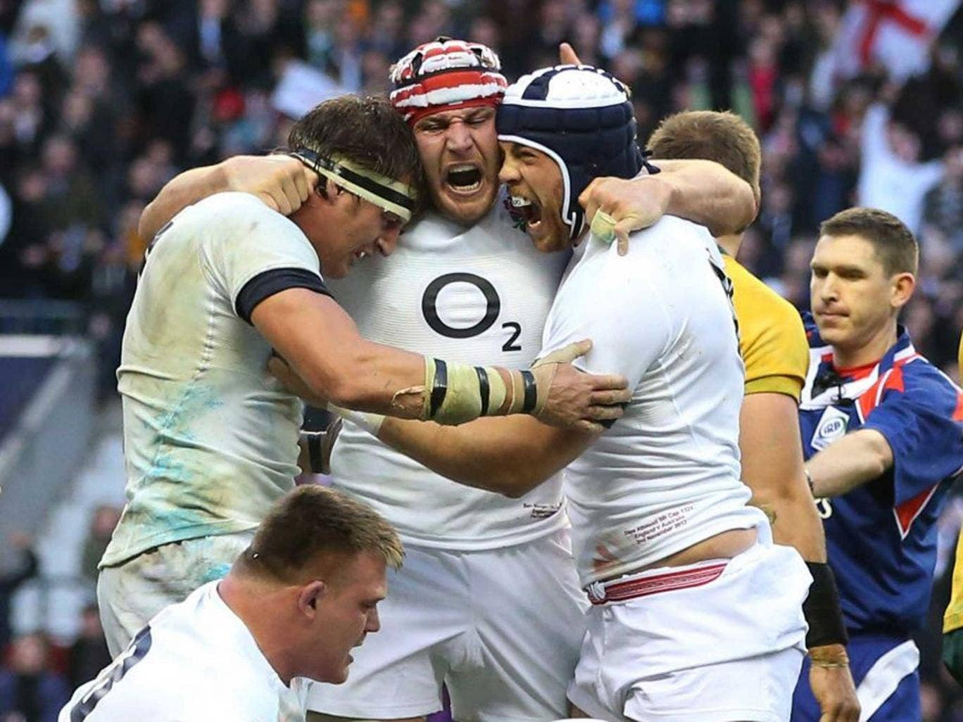 The England team celebrating after defeating Australia