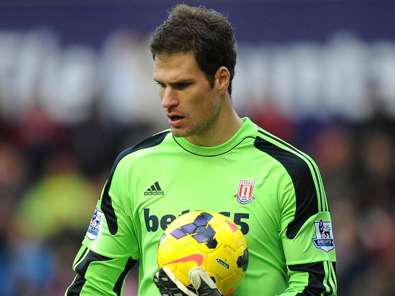 Asmir Begovic in action during Stoke's 1-1 draw with Southampton, in which he opened the scoring