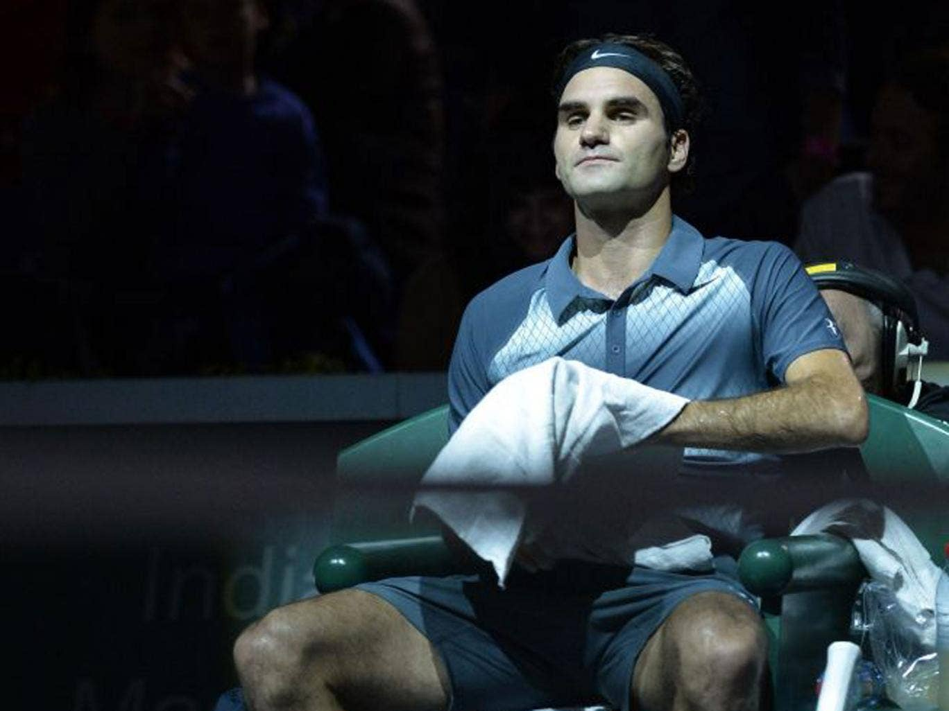 Roger Federer during his semi-final defeat by Novak Djokovic at the Paris Masters on Saturday