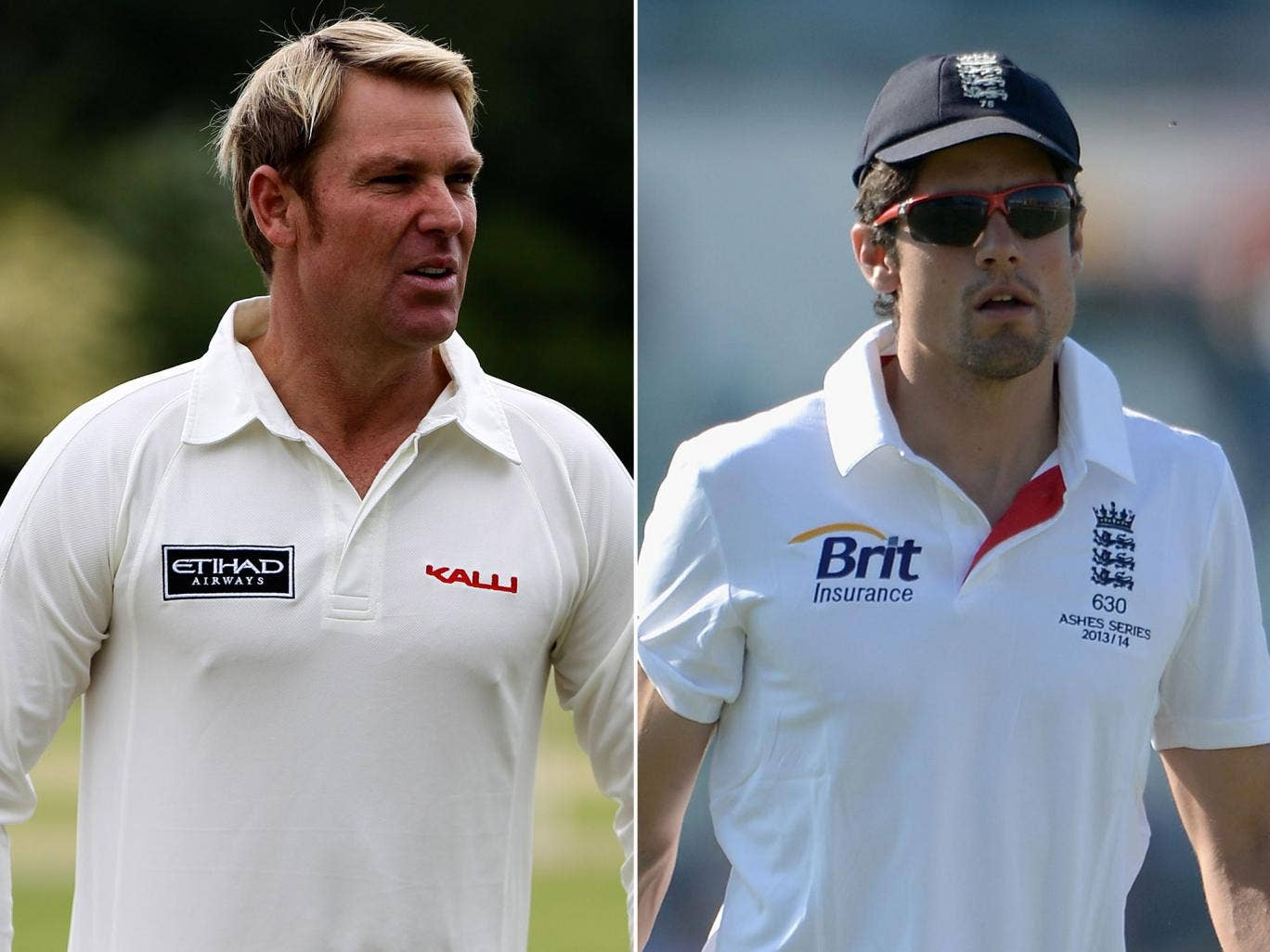 Shane Warne, left, said the conservative tactics of the England captain, Alastair Cook, right, could cost his team dear against Australia