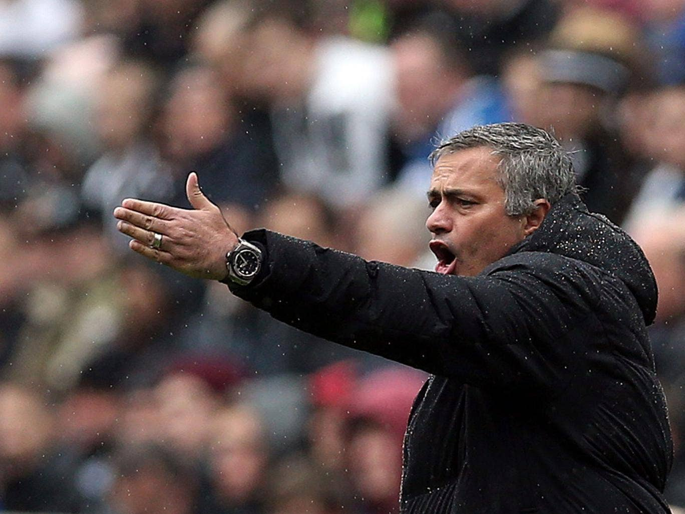 Jose Mourinho shows his displeasure with Chelsea's performance at a damp St James' Park