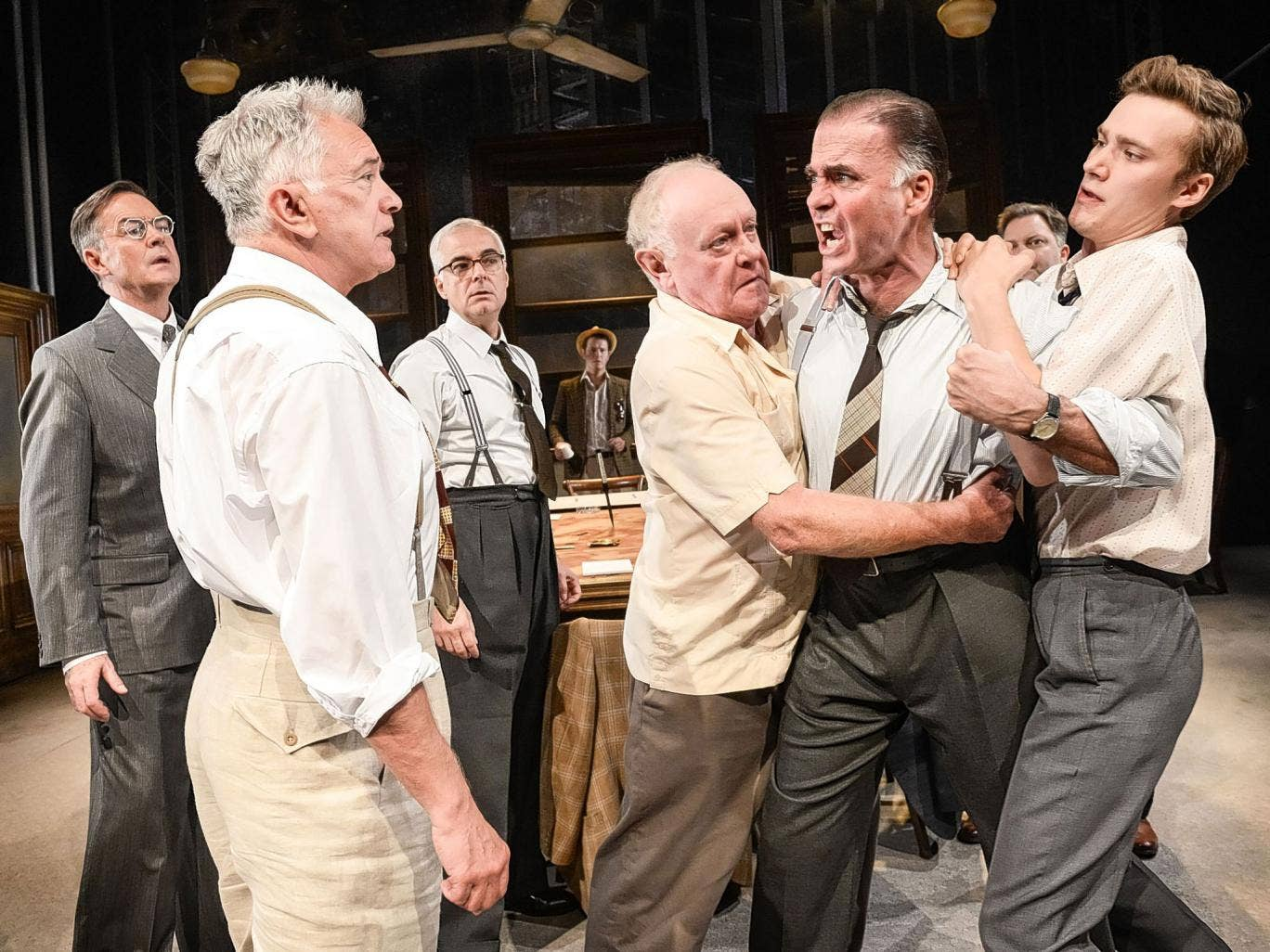 Brace yourself: Martin Shaw, (second from left) and Jeff Fahey (second from right) in 'Twelve Angry Men'
