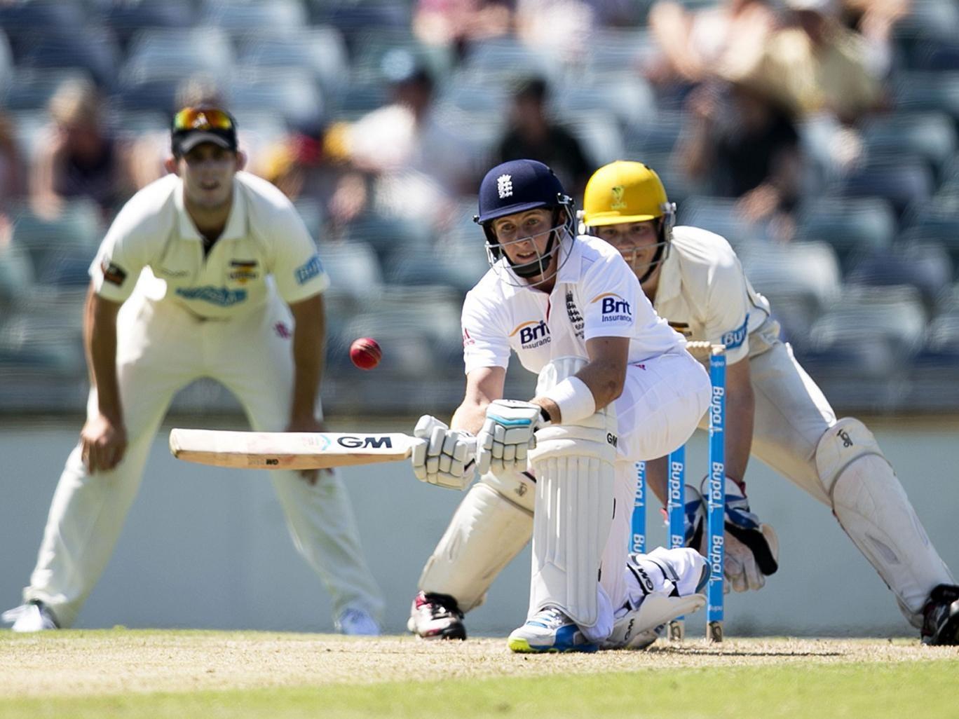 England's Joe Root bats against the Western Australia Chairman's XI in Perth last week