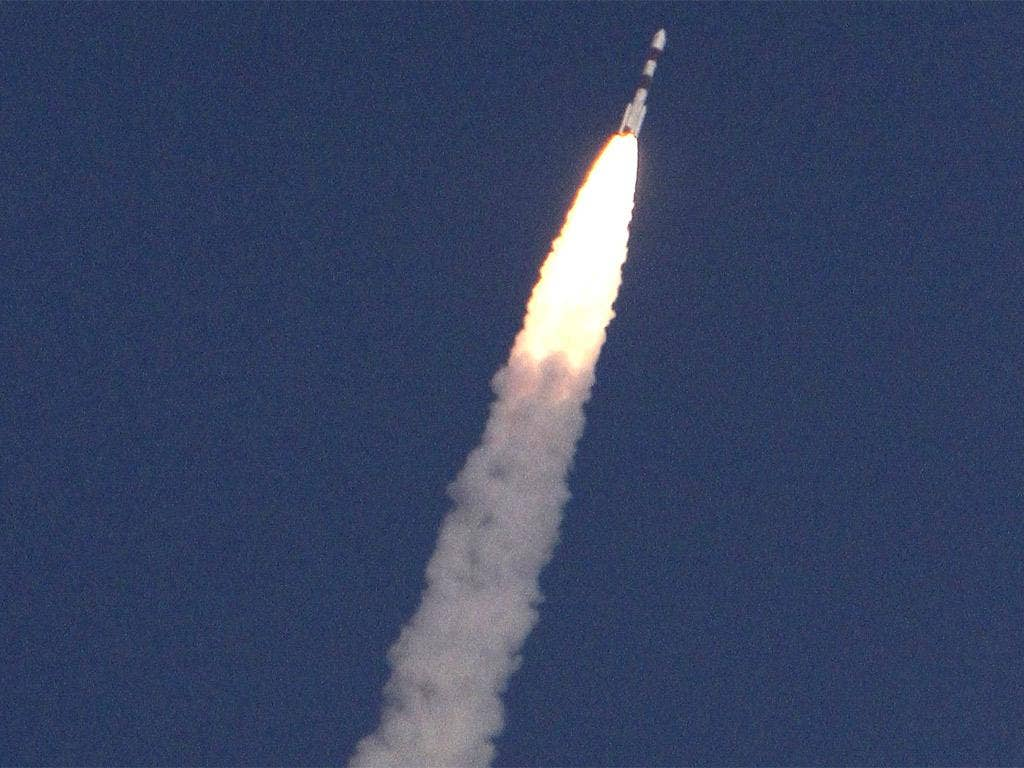 The Mangalyaan orbiter blasts off from the Satish Dhawan Space Center Sriharikota in Andhra Pradesh, near Chennai, India