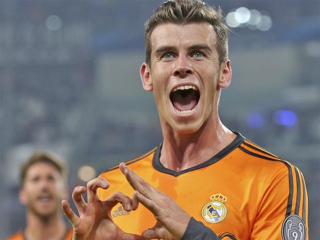 Gareth Bale celebrates scoring Real Madrid's second goal