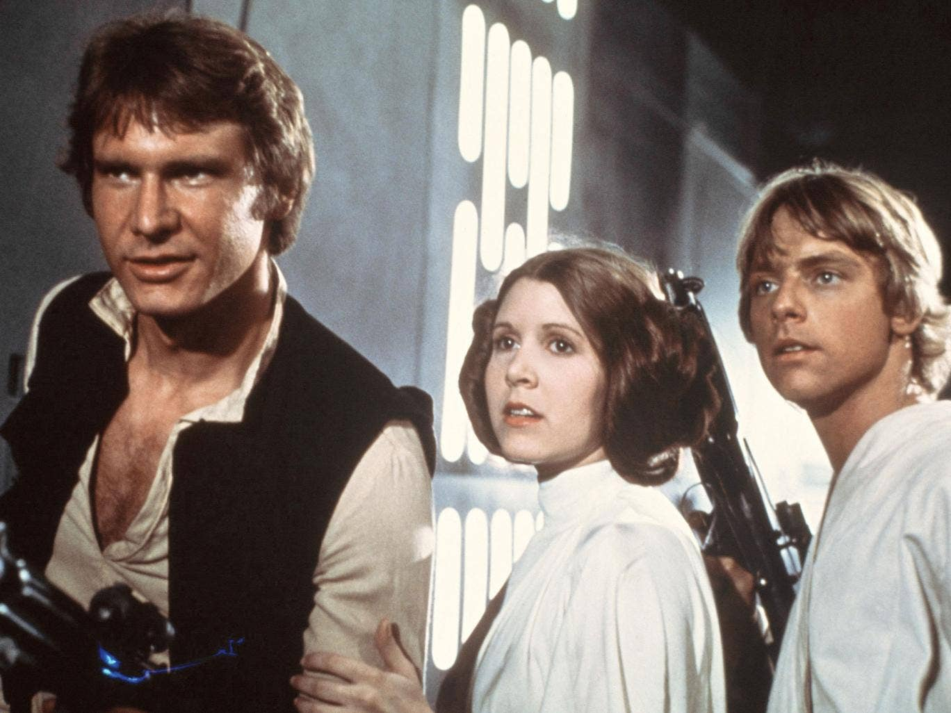 The original Star Wars trio of Harrison Ford, Carrie Fisher and Mark Hamill