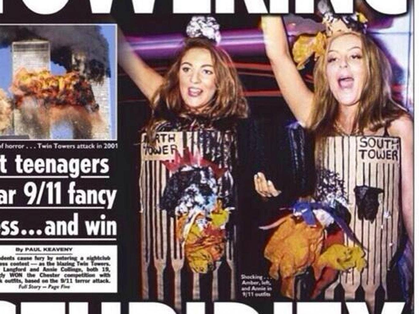 The front page of Wednesday's The Sun showed Amber Langford and Annie Collinge dressed as the burning Twin Towers for a Halloween costume competition