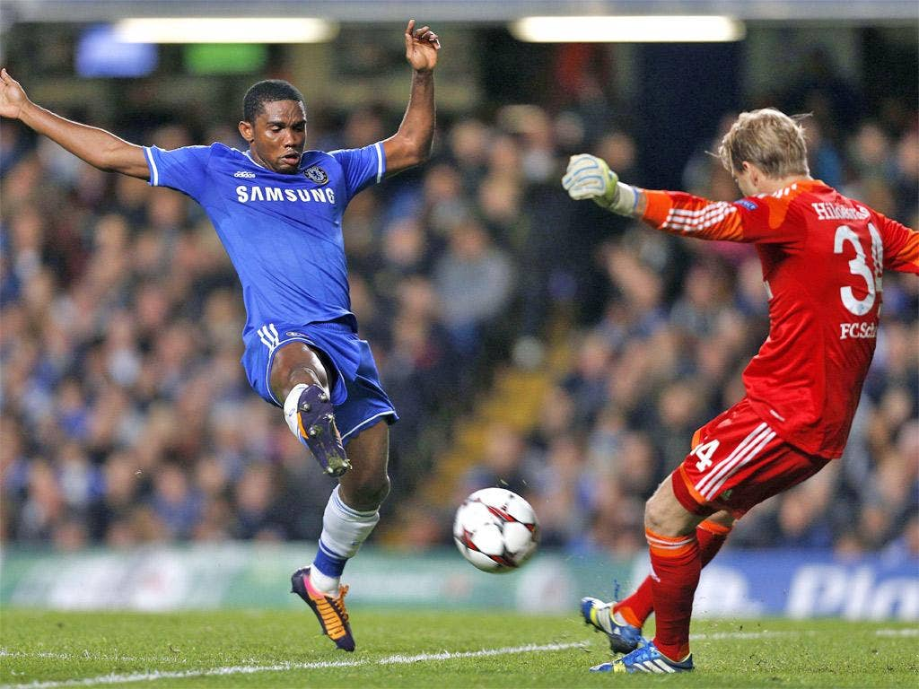 Samuel Eto'o blocks the kick of Timo Hildebrand, which rebounded into the net for the opening goal