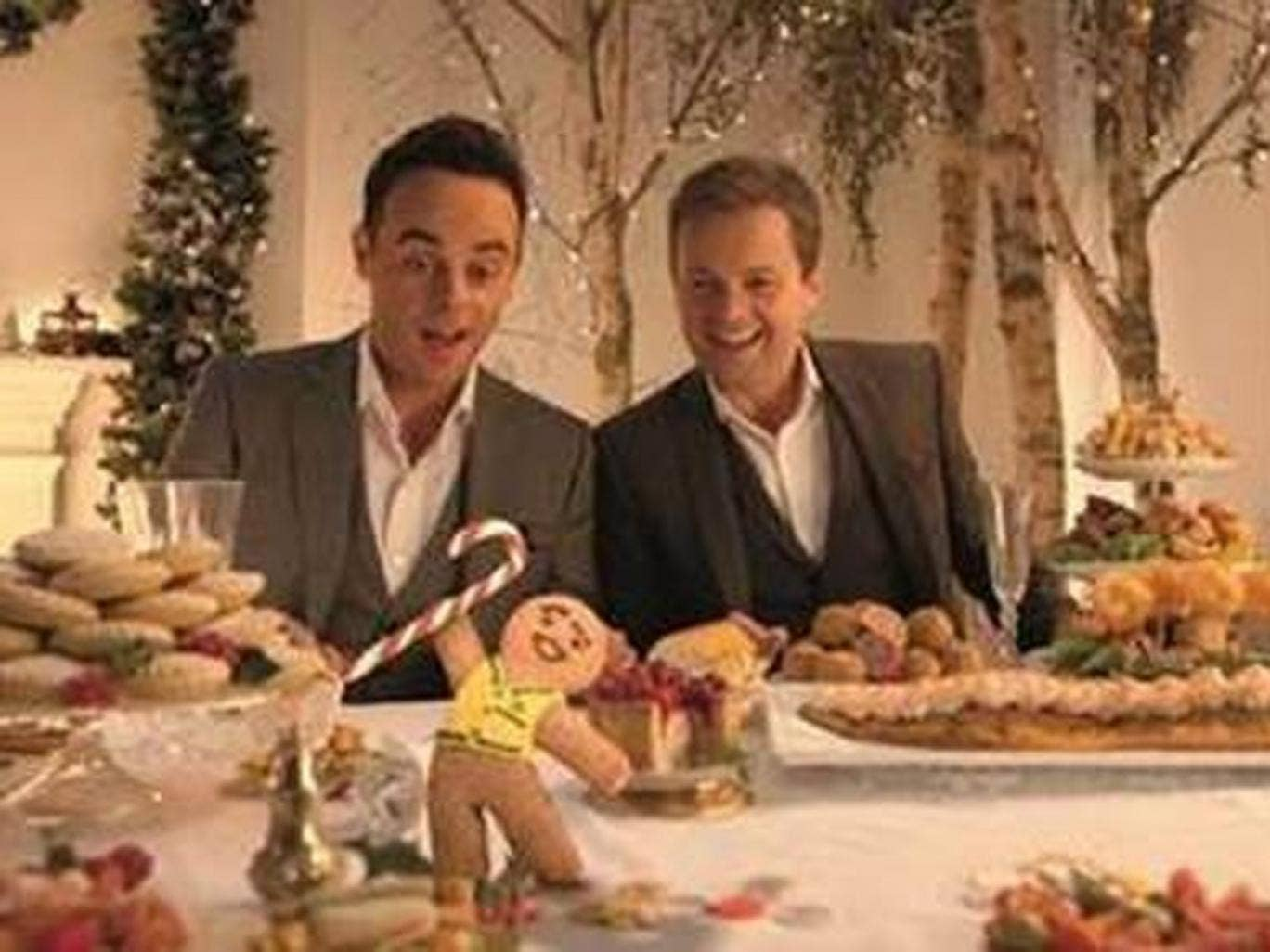 TV presenters Ant and Dec in the Morrisons 2014 Christmas TV advertising campaign