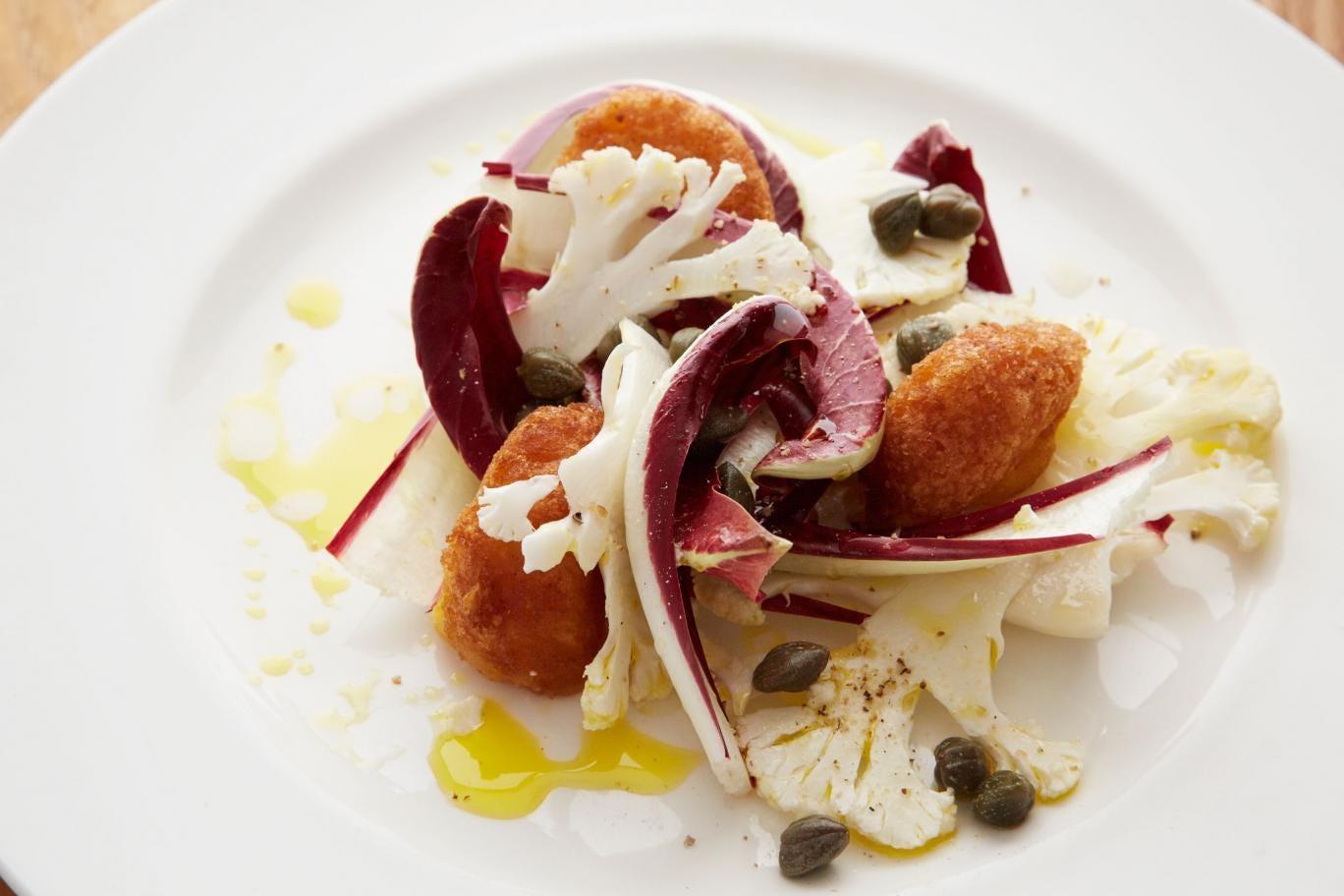 Cauliflower, Treviso and caper salad