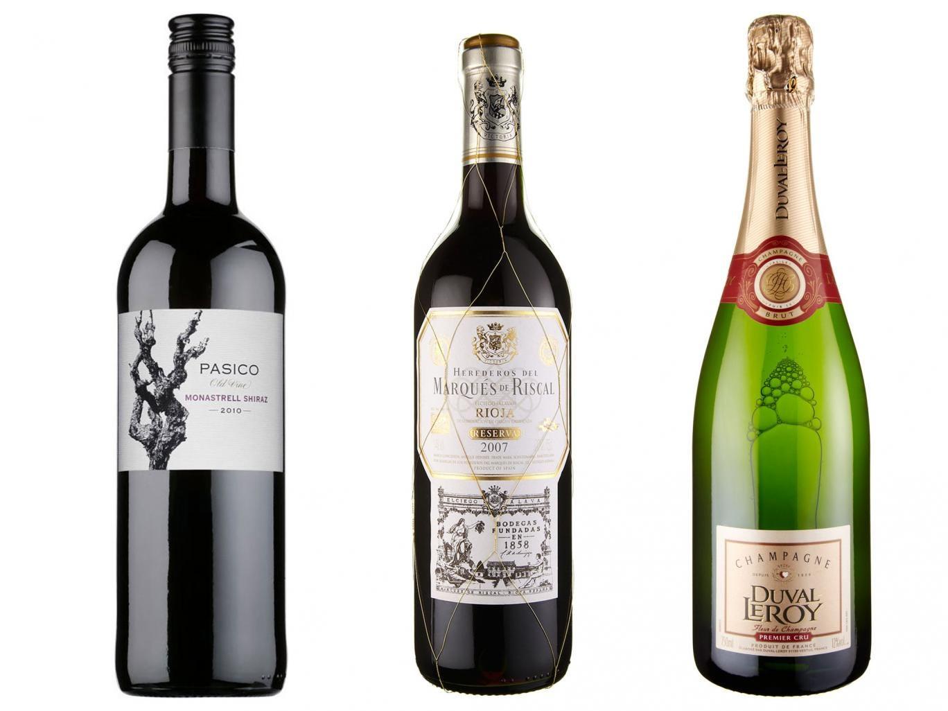 2012 Pasico Old Vine Monastrell Shiraz; 2008 Marqués de Riscal Rioja Reserva; Duval-Leroy Fleur de Champagne