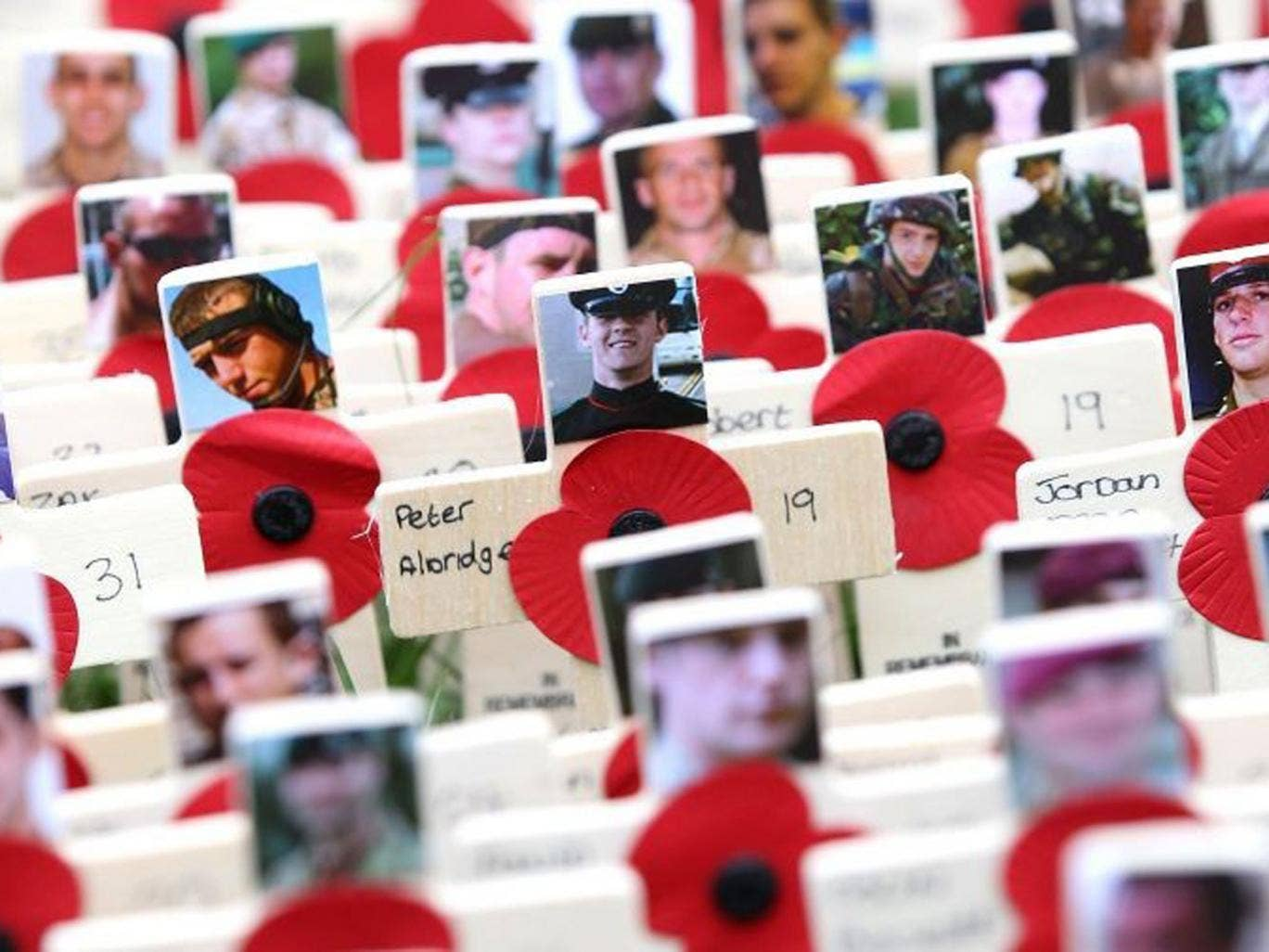 Photographs of the fallen are displayed on crosses adorned with poppies in the field of remembrance at Westminster Abbey