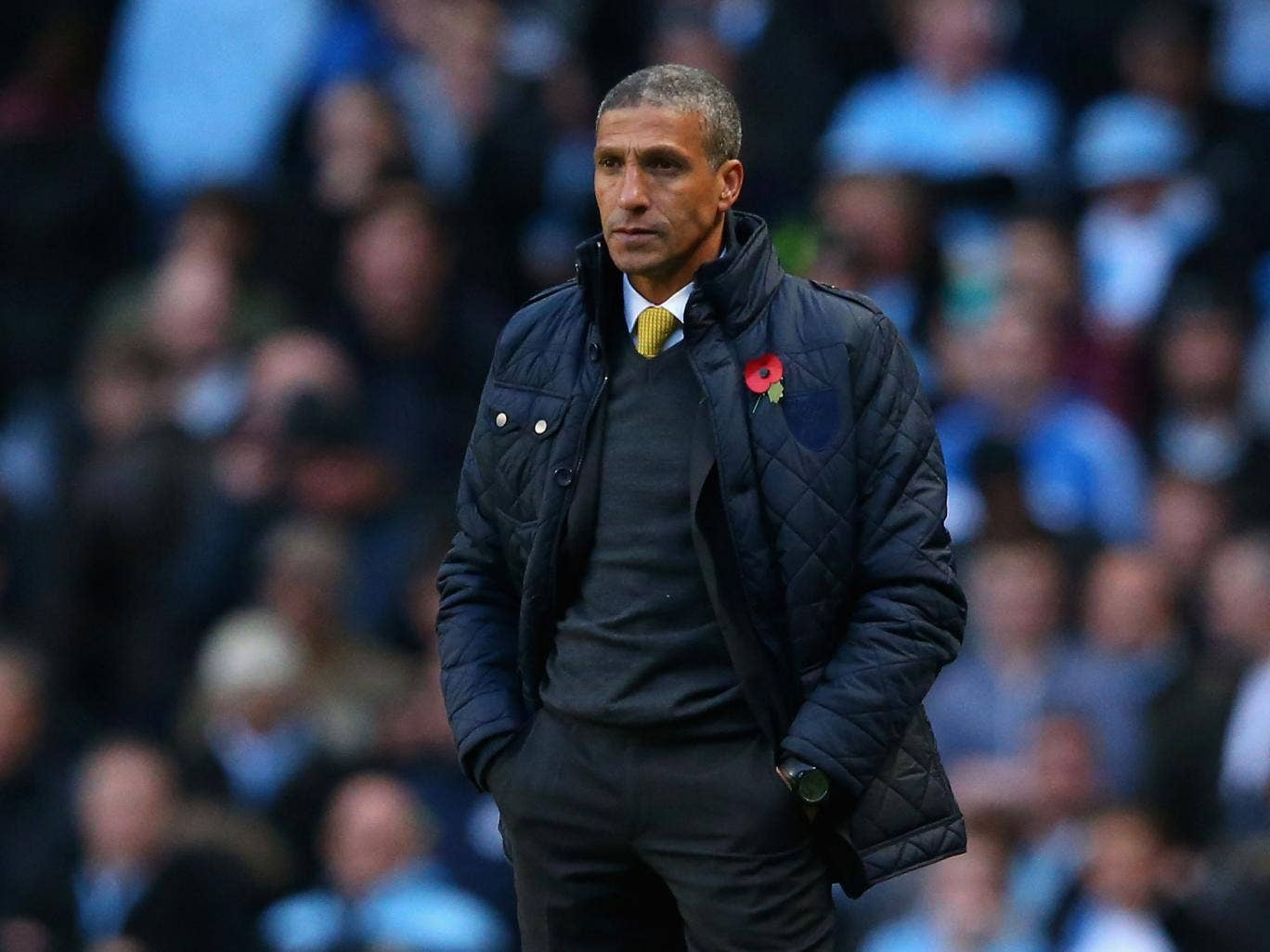 Chris Hughton cuts a lonely figure on the touchline during Norwich City's 7-0 defeat at Manchester City last weekend