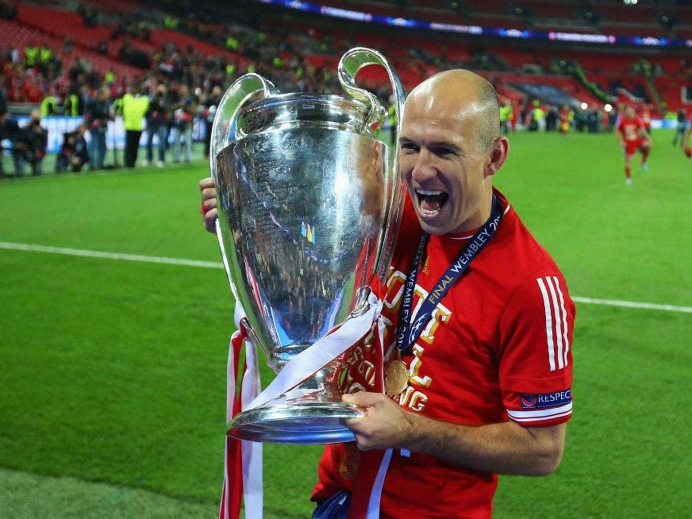 big in the box: Bayern's Arjen Robben in last season's final