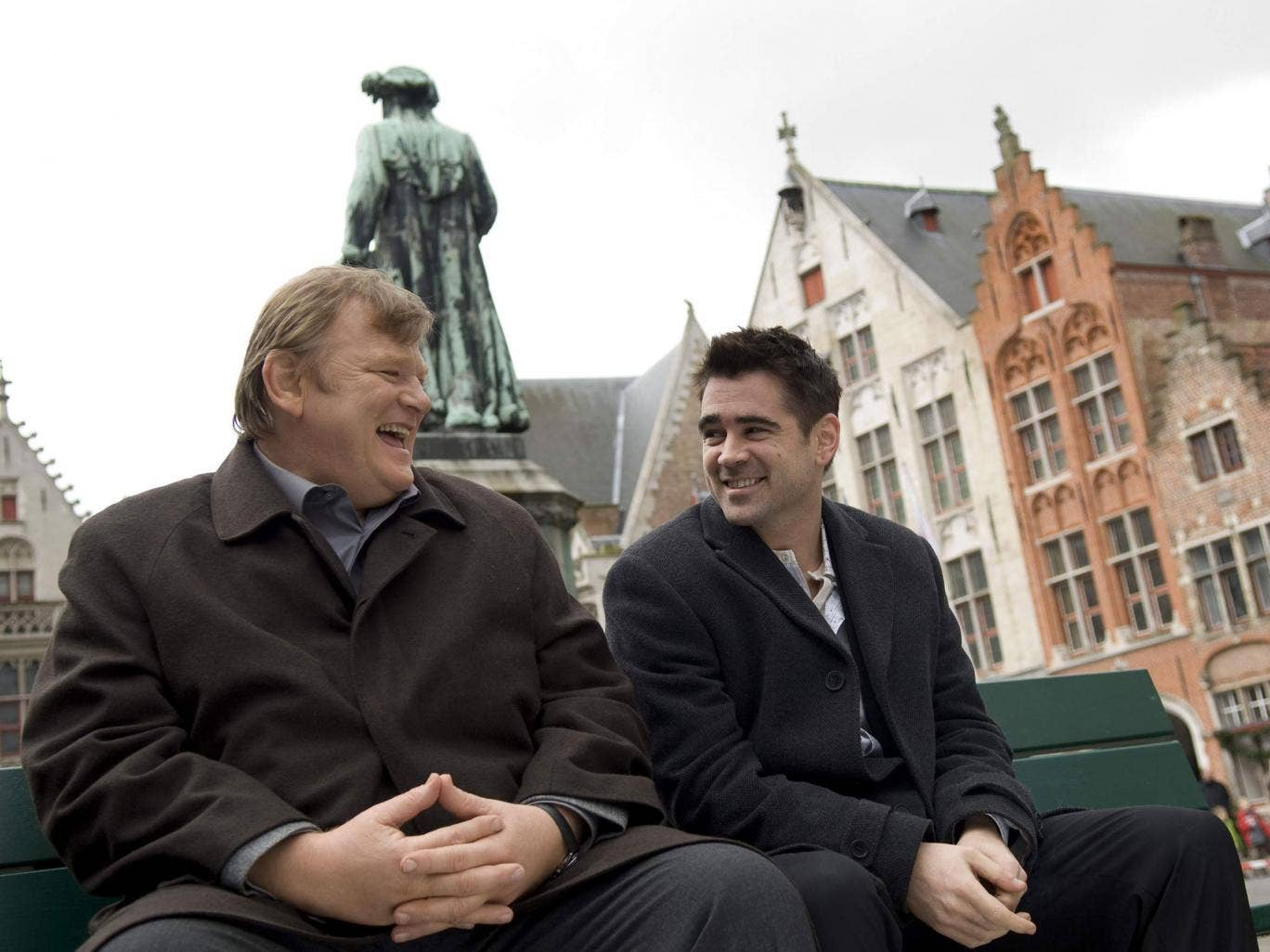 Brendan Gleeson, left, as Ken and Colin Farrell, right, as Ray in 'In Bruges'