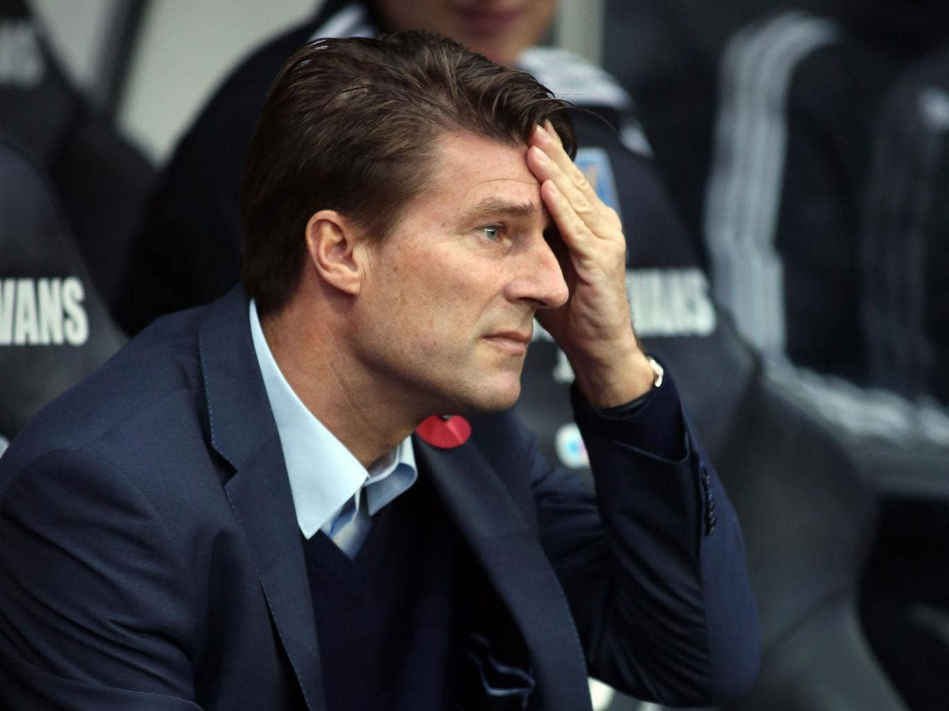 Swansea manager Michael Laudrup looks on during the 3-3 draw