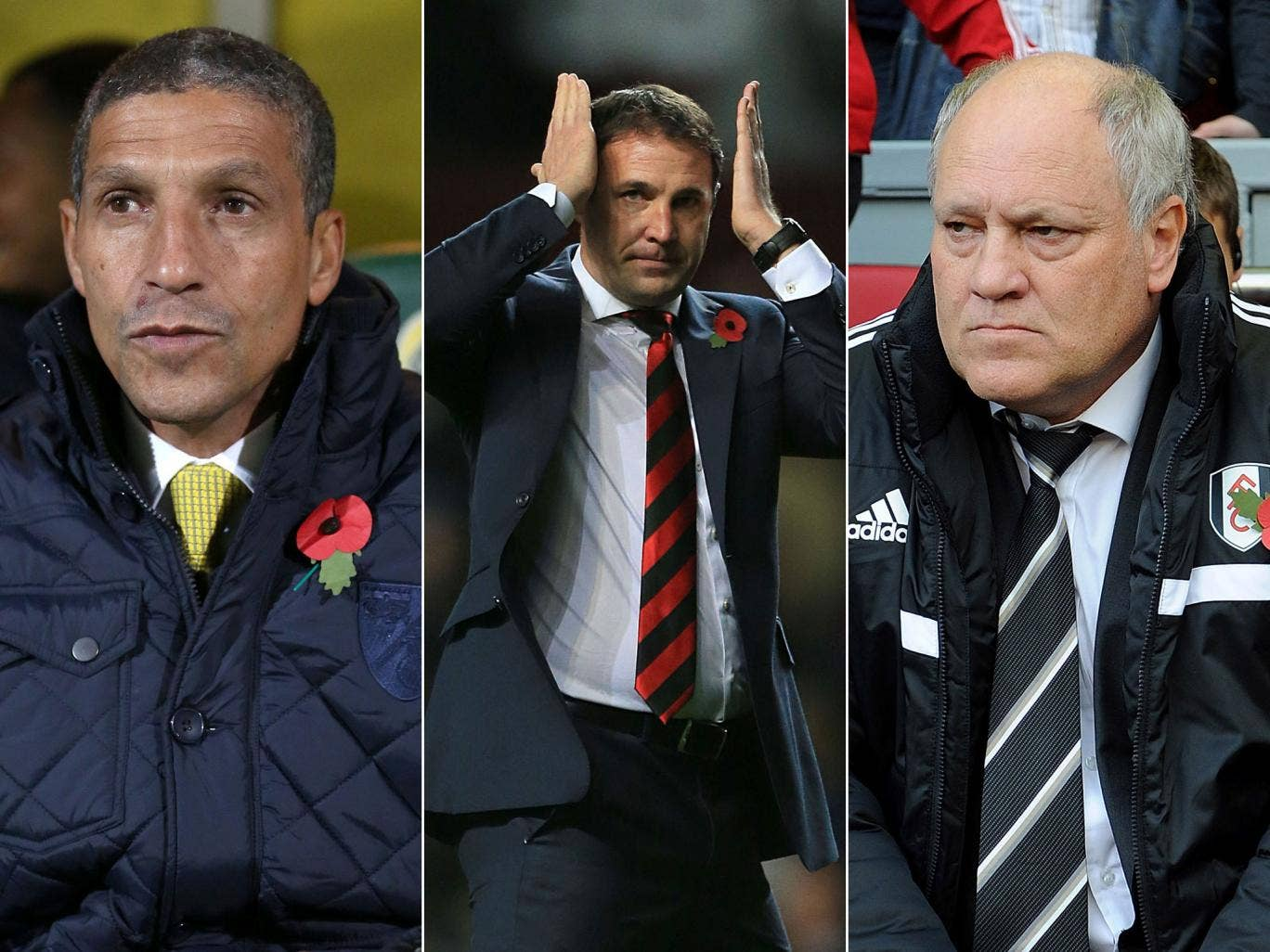 Managers in the firing line, from left, Chris Hughton of Norwich, Malky Mackay of Cardiff, and Fulham's Martin Jol
