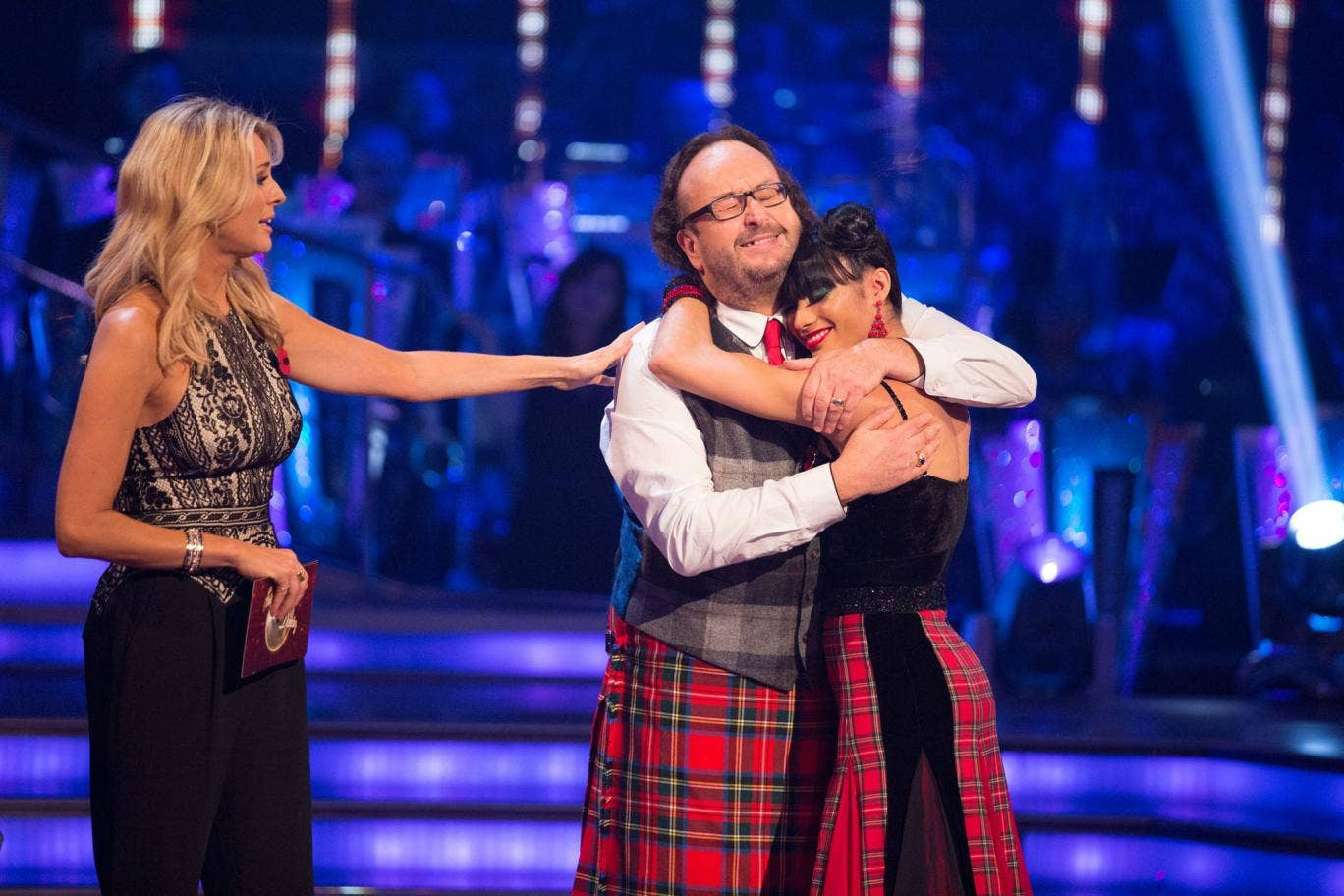 Dave Myers hugs dance partner Karen Hauer after being voted off Strictly Come Dancing 2013